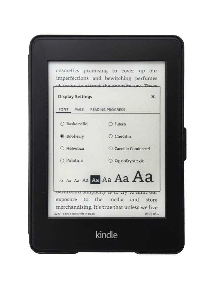 Kindle type size adjustment
